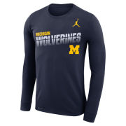 Jordan University of Michigan Football Navy Long Sleeve Dri-FIT Legend Sideline Tee