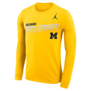 Jordan University of Michigan Football Maize Long Sleeve Dri-FIT Legend Sideline Tee