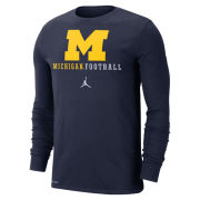 Jordan University of Michigan Football Navy Long Sleeve Dri-FIT Cotton Wordmark Tee