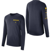 Jordan University of Michigan Basketball Navy Long Sleeve Dri-FIT Cotton Local Tee