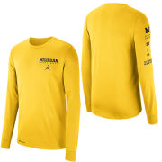 Jordan University of Michigan Basketball Maize Long Sleeve Dri-FIT Cotton Local Tee