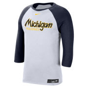 Nike University of Michigan Baseball White/Navy Dri-FIT Cotton 3/4 Sleeve Raglan Tee