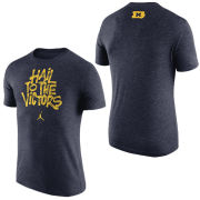 Jordan University of Michigan Basketball Navy Brushstroke ''Hail To The Victors'' Triblend Tee