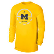 Jordan University of Michigan Basketball Maize Dri-FIT Legend Key 2.0 Long Sleeve Tee