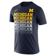 Nike University of Michigan Navy ''Fade'' Dri-FIT Cotton Tee