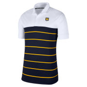 Nike University of Michigan Modern Fan White/Navy/Yellow Striped Polo
