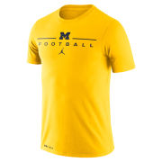 Jordan University of Michigan Football Maize Dri-FIT Cotton Icon Wordmark Tee