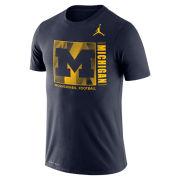 Jordan University of Michigan Football Navy Dri-FIT Cotton Team Issue Tee