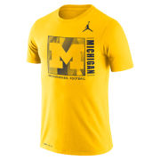 Jordan University of Michigan Football Maize Dri-FIT Cotton Team Issue Tee