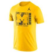Jordan University of Michigan Football Maize Dri-FIT Cotton Team Issue Tee