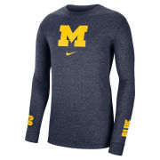 Nike University of Michigan Marled Navy Long Sleeve Tee