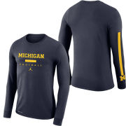 Jordan University of Michigan Football Navy Dri-FIT Cotton Long Sleeve Wordmark Tee