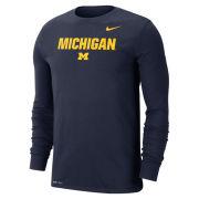 Nike University of Michigan Navy ''Lock Up'' Long Sleeve Dri-FIT Cotton Tee