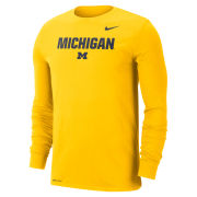 Nike University of Michigan Maize ''Lock Up'' Long Sleeve Dri-FIT Cotton Tee