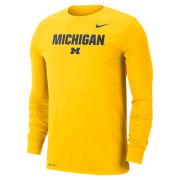 Nike University of Michigan Maize ''Lock Up'' Long Sleeve Dri-FIT Cotton Tee