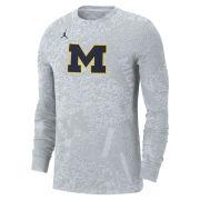 Jordan University of Michigan Football White Long Sleeve Dri-FIT Performance Practice Tee