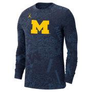 Jordan University of Michigan Football Navy Long Sleeve Dri-FIT Performance Practice Tee