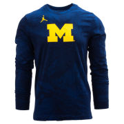Jordan University of Michigan Football Navy Dri-FIT Cotton Long Sleeve Team Tee