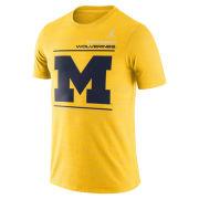 Jordan University of Michigan Football Maize Velocity Sideline Dri-FIT Legend Tee