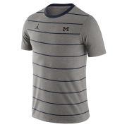 Jordan University of Michigan Gray Striped Tri-Blend Tee