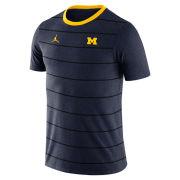 Jordan University of Michigan Navy Striped Tri-Blend Tee