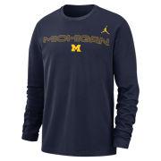 Jordan University of Michigan Football Navy Team Issue Long Sleeve Dri-FIT Cotton Tee