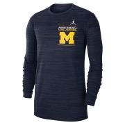Jordan University of Michigan Football Navy Long Sleeve Dri-FIT Velocity Tee