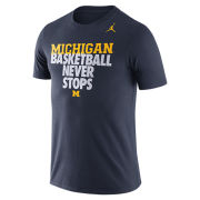 Jordan University of Michigan Basketball Navy ''Never Stops'' Tee