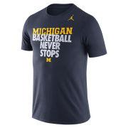 Jordan University of Michigan Basketball Navy ''Never Stops'' Tee