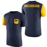 Jordan University of Michigan Basketball Navy Triblend Player Pocket Tee