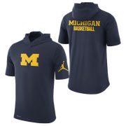 Jordan University of Michigan Basketball Navy Dri-FIT Cotton Hooded Tee