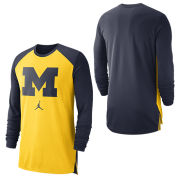 Jordan University of Michigan Basketball Maize/Navy Long Sleeve Breathe Dri-FIT Shooter Top