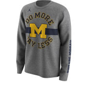 Jordan University of Michigan Basketball Dark Heather Gray Long Sleeve ''Do More, Say Less'' Dri-FIT Legend Bench Tee