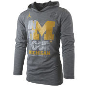 Jordan University of Michigan Basketball Final Four Anthracite Dri-FIT Cotton Long Sleeve Hooded Tee
