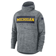 Jordan University of Michigan Basketball Gray Dri-FIT Spotlight Hooded Sweatshirt