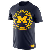 Jordan University of Michigan Basketball Navy Crest Dri-FIT Cotton Tee