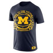 Jordan University of Michigan Basketball Navy Crest Dri-FIT Cotton Tee