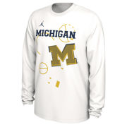 Jordan University of Michigan Basketball 2020 White Long Sleeve Dri-FIT Tournament Bench Tee