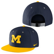 Nike University of Michigan Navy with Yellow True Flat Brim Hat