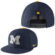 Nike University of Michigan Navy Reflective Block ''M'' Logo True Flat Brim Snapback Hat