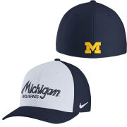 Nike University of Michigan White and Navy Classic99 Dri-FIT Script Swooshflex Hat
