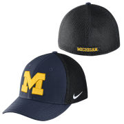 Nike University of Michigan Navy and Black Aerobill Meshback Swooshflex Hat