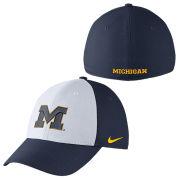 Nike University of Michigan White and Navy Classic99 Dri-FIT Swoosh Flex Hat