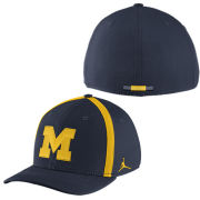 Jordan University of Michigan Football Navy Aerobill Sideline Coaches Dri-FIT Swoosh Flex Fit Hat