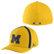 Jordan University of Michigan Football Yellow Aerobill Sideline Coaches Dri-FIT Swoosh Flex Fit Hat