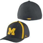 Jordan University of Michigan Football Anthracite Aerobill Sideline Coaches Dri-FIT Swoosh Flex Fit Hat