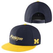 Nike University of Michigan Navy Sport Specialties Throwback Flat Brim Snap Back Hat
