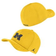 Jordan University of Michigan Football Maize Sideline Dri-FIT Structured Swoosh Flex Fit Hat