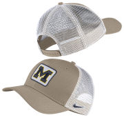 Nike University of Michigan Khaki/White Classic99 Meshback Snapback Trucker Hat