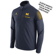 Jordan University of Michigan Football Heather Navy Elite Coaches 1/4 Zip
